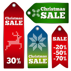 Christmas sale embroidery labels - vector illustration