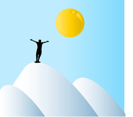 Silhouette of man on top of mountains,conceptua l of success