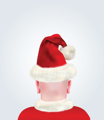 Realistic Bald Head With Santa Claus Hat