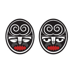 Collection of two different maori style faces