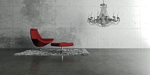 Roter Sessel mit Kronleuchter