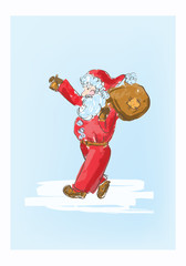 Illustration of cartoon Santa Claus sketch