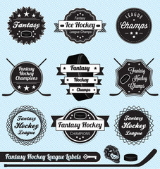 Vector Set: Vintage Fantasy Hockey League Labels
