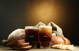 tankards of kvass and rye breads with ears,