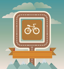 Vector template with bicycle and road