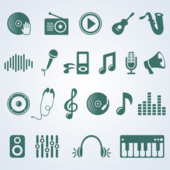 Vector set of music icons