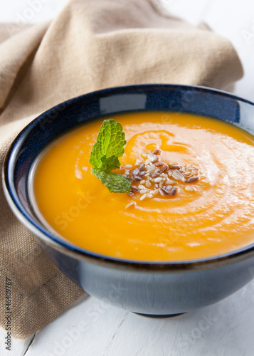 cream of pumpkin with mints and seeds