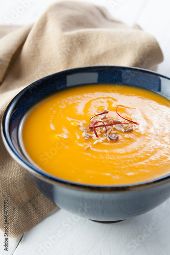 cream of pumpkin with affron and seeds