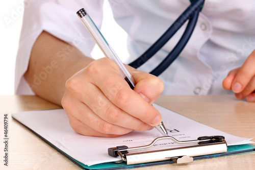 Doctor appoint prescription drugs to patients isolated on white