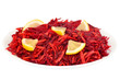 Grated raw beet on a plate