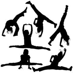 gym girls silhouettes