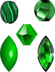 Malachite and Emerald Green Vector Illustrations