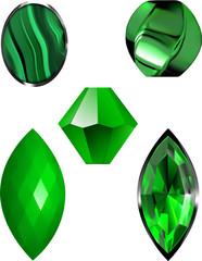Malachite and Emerald Green Vector Illustrations