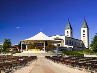 The altar in the square and church in Medjugorje