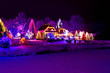Christmas fantasy - park, forest & lodge in xmas lights - 46414157