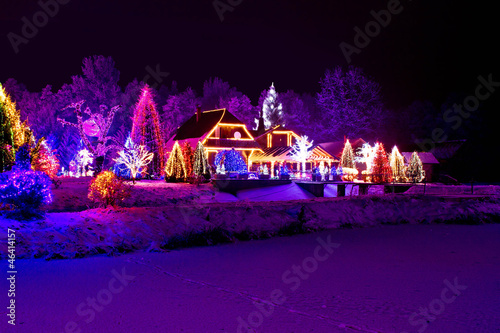 Fotobehang Violet Christmas fantasy - park, forest & lodge in xmas lights