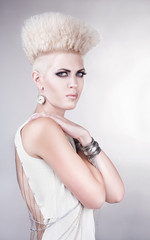futuristic beautiful woman with creative hairstyle