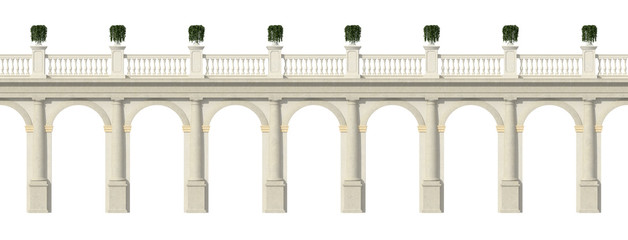 Tuscany colonnade isolated on white