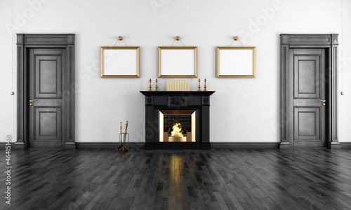 Vintage livingroom with fireplace
