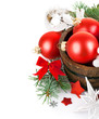 christmas tinsel with branch firtree and red balls isolated on