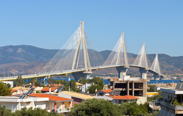 Patras cable bridge in Greece
