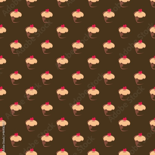 Poster Seamless vector pattern texture background sweet muffin cupcakes