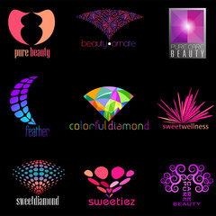 set of beauty concept icons