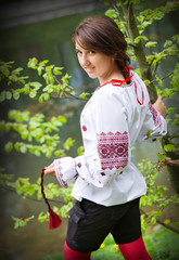 Ukrainian girl dressed in embroidered shirt