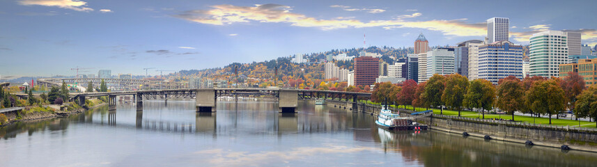 Portland Oregon Downtown Skyline and Bridges