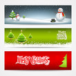 Merry Christmas banners set design background, vector