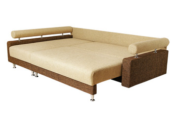 beige brown sofa isolated on white background