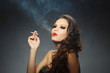 young brunette woman with cigarette