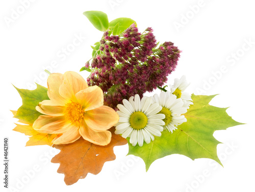 Autumn bouquet with flowers and dry leaves.
