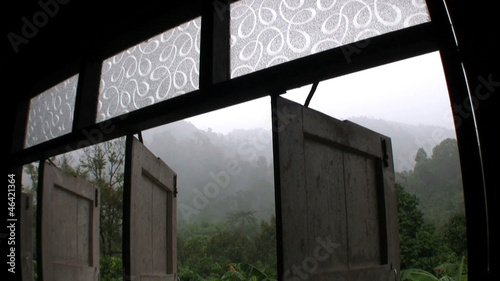 Monsoon Rains Through Open Barn Doors In Thailand