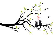 Kotów w miłości na gałęzi drzewa, wektor