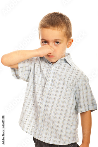 Boy  holding his nose