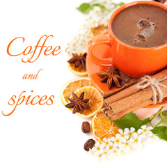 Сup of espresso with cinnamon, brown sugar and star anise