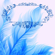 Vintage abstract background with blue feathers
