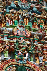 Sculptures on Hindu in Menakshi Temple, Madurai, India