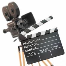 composition du film. Caméra et clap Vintage.