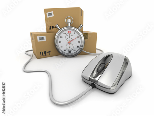 Online express delivery. Mouse, stopwatch and package.