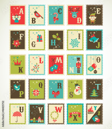 Christmas retro alphabet with cute vector xmas icons