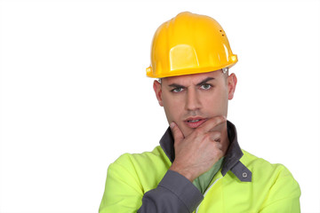 Questioning construction worker
