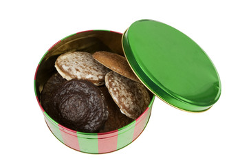 christmas tin with gingerbread cookies, isolated