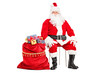 Santa Claus sitting with bag full of presents