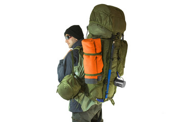 Hiker with tourist backpack on back - isolated on white
