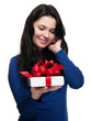 Young woman welcomes your gift