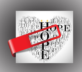 """A heart made of words """"HOPE"""" with sticker"""