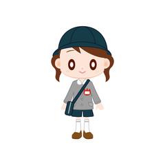 保育園児 女の子 紺色の帽子