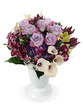 colorful floral bouquet of roses, lilies and orchids arrangement